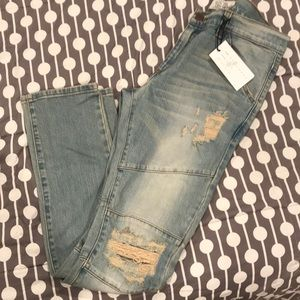 Golden denim distressed jeans